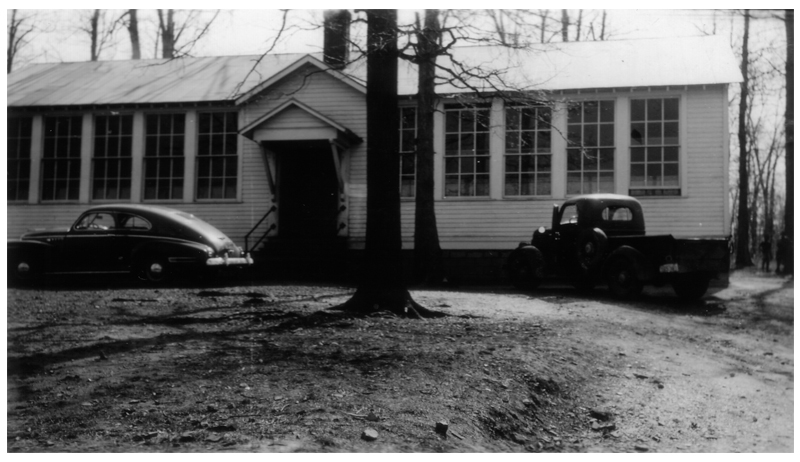 Photograph of the two-room Cub Run Colored School, circa 1942.